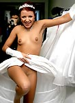 Amateur brides in afterwedding game