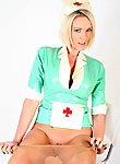 busty blonde in latex nurse uniform and pantyhose