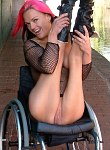 Wheelchair Leah Caprice is flashing nude in public